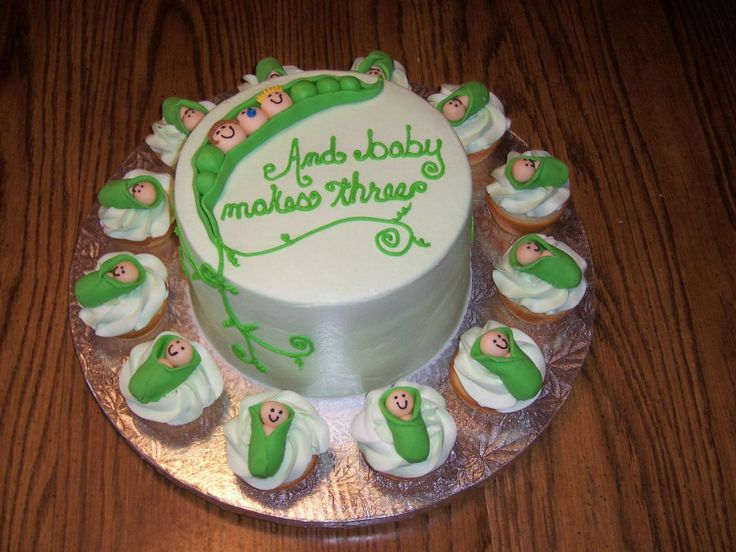 pea pod cupcakes - Here is a baby shower cake and cupcakes iced in buttercream with fondant pea pod and babies.