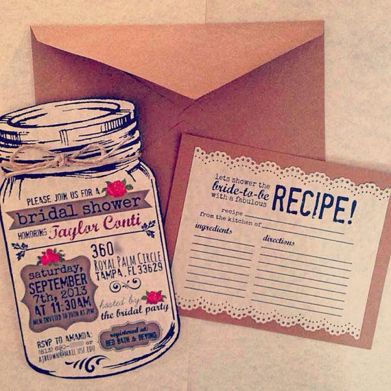 Custom invitations for any occasion!!! .....Custom Bridal Shower Mason Jar Invitations with Twine by OohLaLlew, $1.50