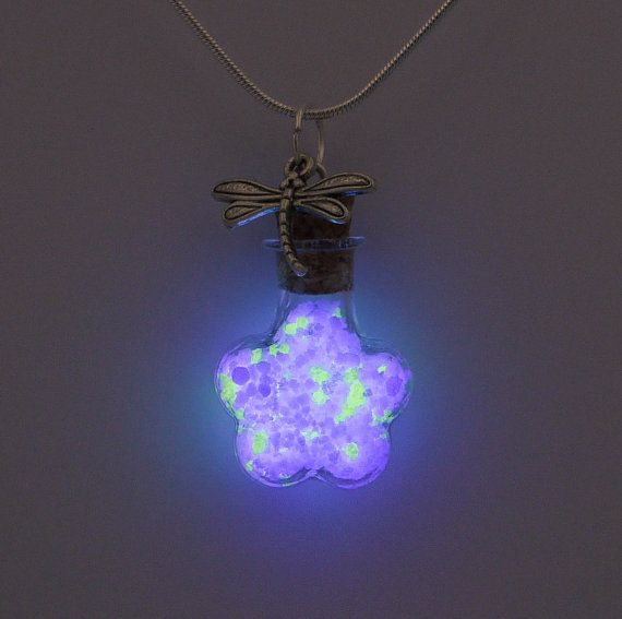 Glowing Bottle Necklace Dragonfly Wings   by WoodwormsNGloworms