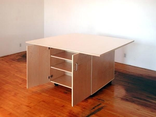 Artist Table With Storage Tables For The Art Studio Roll On Wheels With Cabinets Below For Storing Art Artist Furniture Studio Furniture Salon Interior Design