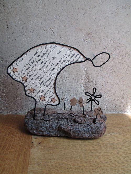 cueillir des fleurs, déco papier et bois flotté