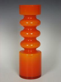 """13"""" tall Alsterfors orange glass vase by Per-Olof Ström"""