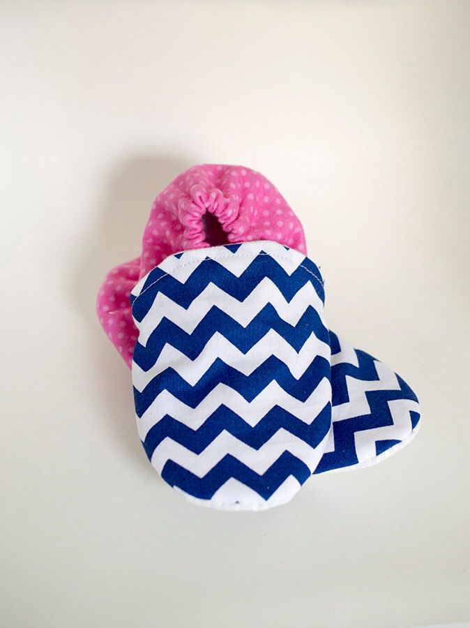 A personal favorite from my Etsy shop https://www.etsy.com/ca/listing/484131467/baby-booties-navy-chevron-dotted-pink