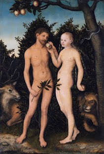 Adam and Eve in Paradise (The Fall), 1531 by Lucas Cranach the Elder, a prominent portrait artist of the German Renaissance. This piece is one of his most recognizable works. Cranach also produced prints, woodcuts and engravings with exquisite detail.