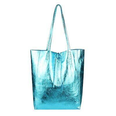 ITAL DAMEN LEDER HAND-TASCHE Shopper Schultertasche Henkeltasche Metallic Bag: E… – Italyshop24.com