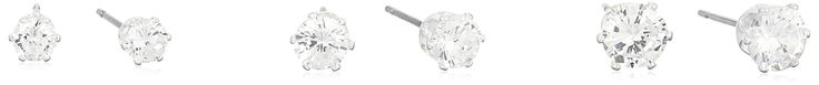 """Napier """"Classics"""" Silver-Tone Cubic Zirconia Set of 3 Stud Earrings. Made in Viet Nam. Lg: 0.4""""; Md: 0.3""""; Sm: 0.2"""". Imported."""