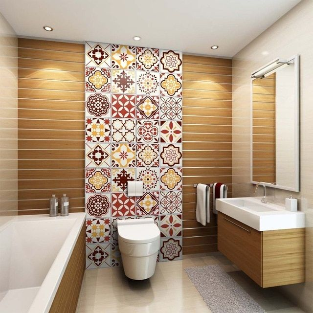 Waterproof Oil Proof And Self Sticking Pvc Wall Sticker For Kitchen Washroom Background Wallpa Bathroom Wall Decor Bathroom Redecorating Bathroom Shower Walls