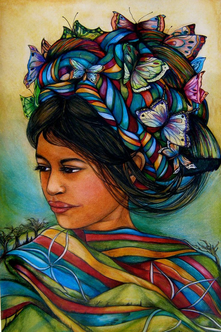 Woman With Butterflies From Guatemala Art By PrintIllustrations