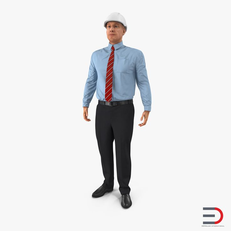 Construction Engineer in Hardhat Standing Pose