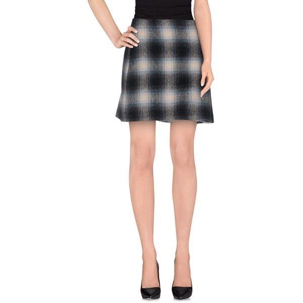 Prada Mini Skirt (£389) ❤ liked on Polyvore featuring skirts, mini skirts, slate blue, pleated skirt, blue pleated mini skirt, plaid pleated skirt, blue pleated skirt and blue mini skirt