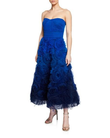 2837f11f Marchesa Notte Ombre Strapless Textured Tulle Gown with Draped Bodice