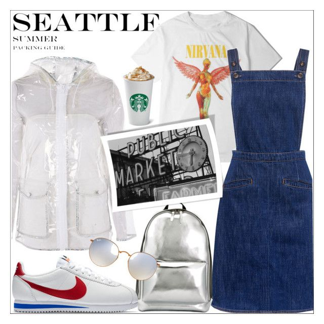 """""""Seattle Summer Travel Outfits"""" by loewenangel ❤ liked on Polyvore featuring Topshop, M.i.h Jeans, 3.1 Phillip Lim, NIKE, Ray-Ban, travel, starbucks, seattle and outfitsfortravel"""