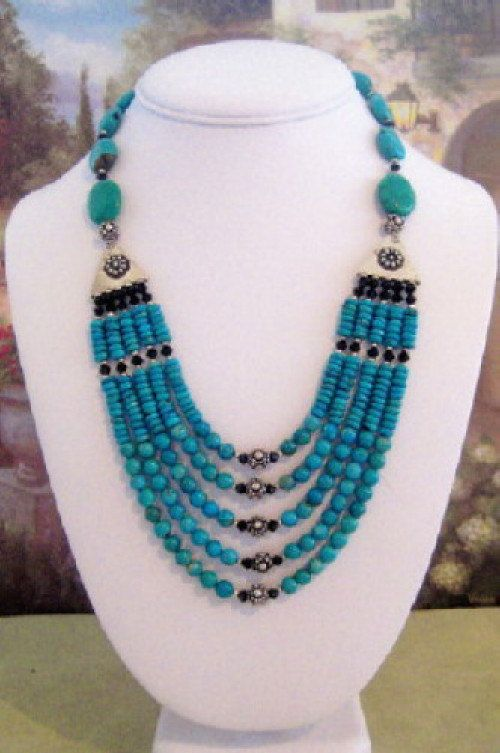 Turquoise and Crystal Necklace T18 by dkdesigns8238 on Etsy, $125.00