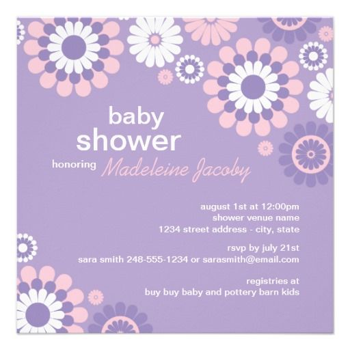 purple baby shower invitations   ... baby shower invitation the square invitations feature retro style