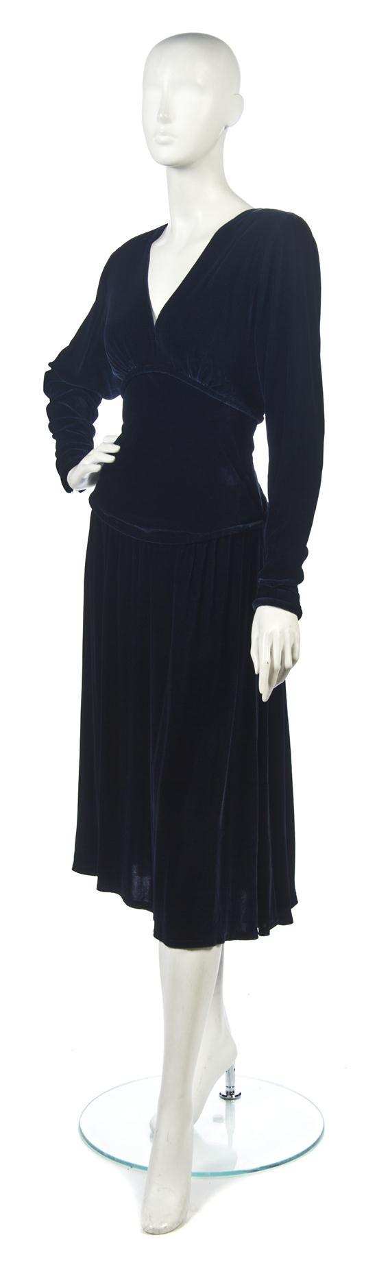 A Jeanne Paquin Blue Velvet Dress