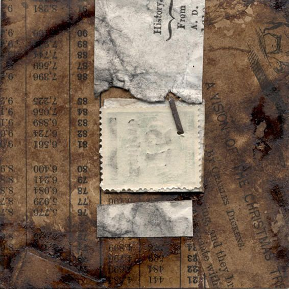 JANET JONES Collages of book pages,fused, stained and layered