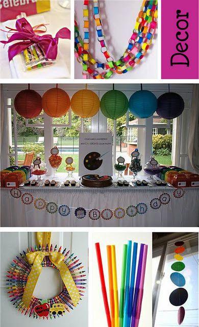 Rainbow, Art Birthday Party Idea!!