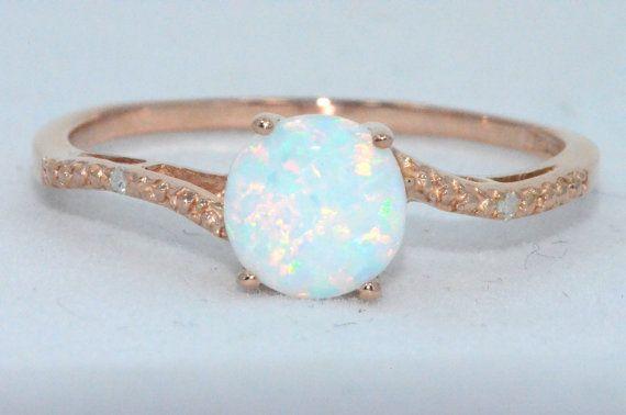 14Kt Rose Gold Opal Diamond Earrings by ElizabethJewelryInc, $124.99