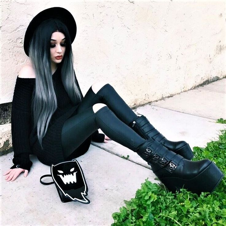 """Black round hat with knitted sweater, black ripped pants, platform boots & """"evil ghost"""" handbag by xdeceiver"""