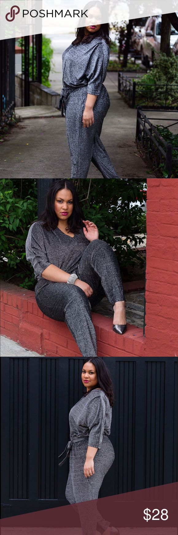 Silver jumpsuit Ready for a night out on the town? Silver/metallic jumpsuit. Comfortable with a zipper on the back. ellos Pants Jumpsuits & Rompers