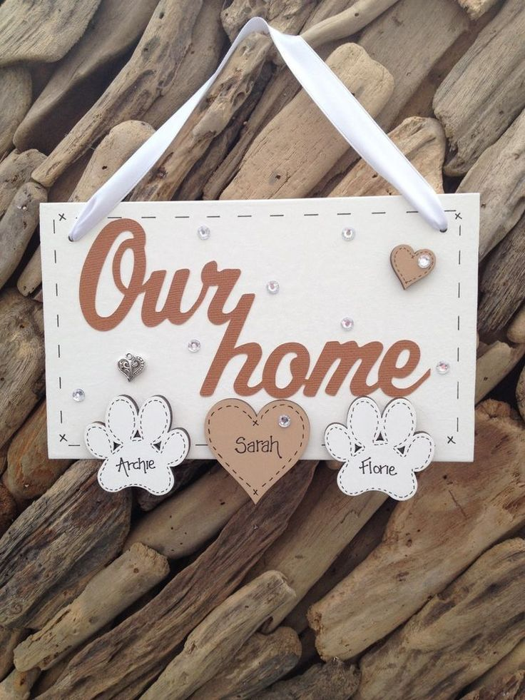 Our Home with Paw for Cat or Dog New Home Gift Personalised Hearts Plaque Sign