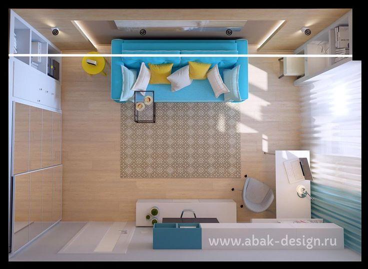 Готовые дизайн-проекты квартир в домах серии П-44Т - Однушка левая - Комната 19 м2