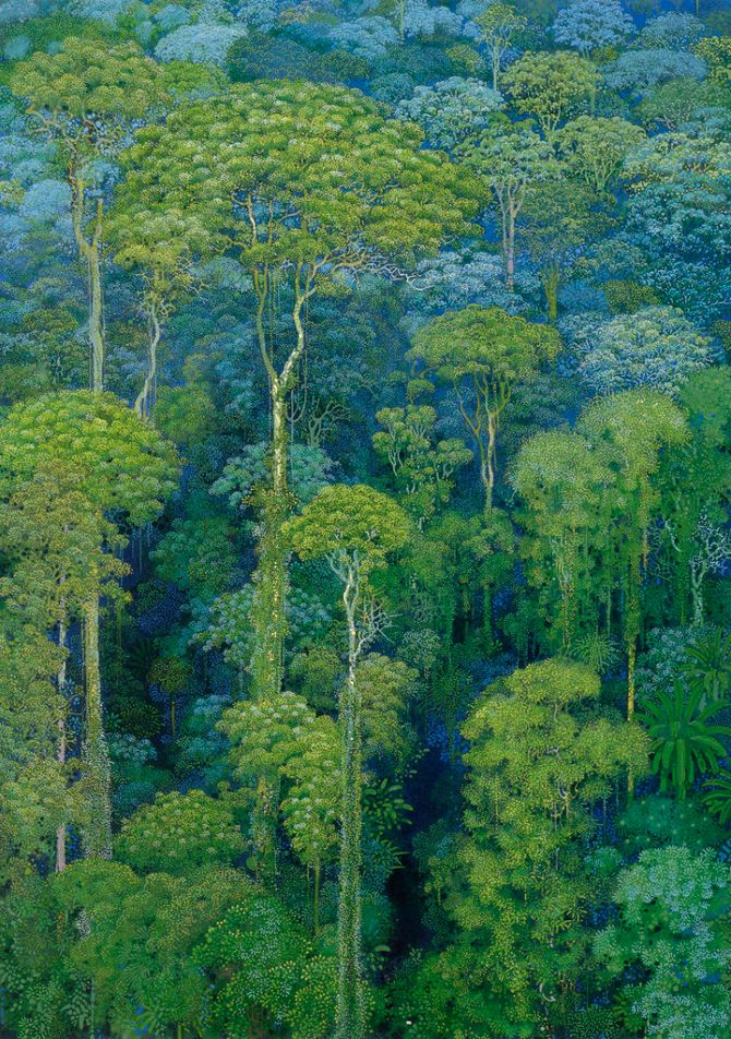 Hirō Isono was a Japanese artist born in 1945, and passed away on May 2013. Shown in the majority of his work, you will notice that he had an affinity for trees, forests, and nature.