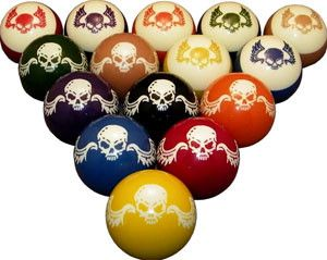 Your game will soar to new heights with these cool winged skull pool / billiard balls from Vigma. - FREE Shipping!!! (No additional costs) - 15 BCA Standard, 6 oz. Kobo resin balls (8-ball included) -