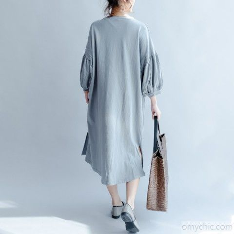 0e70687519f gray blue vintage sundress plus size knit cotton summer dress puff sleeve  maxi dressThis dress is made of cotton linen fabric
