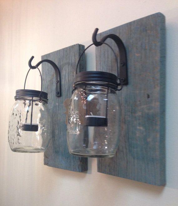 Set/2 rustieke schuur houten Mason Jar schans door TheFlamingosNest