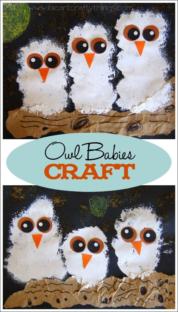 """Owl Craft to go with the popular children's book """"Owl Babies""""   www.iheartcraftythings.com #kidscrafts #owlcrafts"""