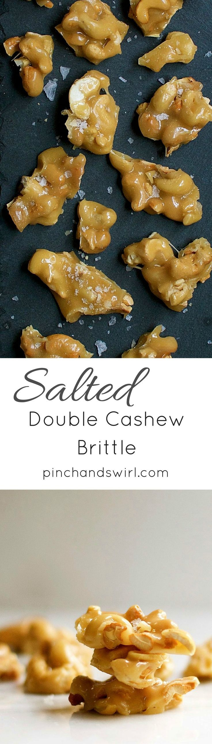 Easy Salted Double Cashew Brittle - this nut brittle recipe is so delicious and such a great edible gift idea!