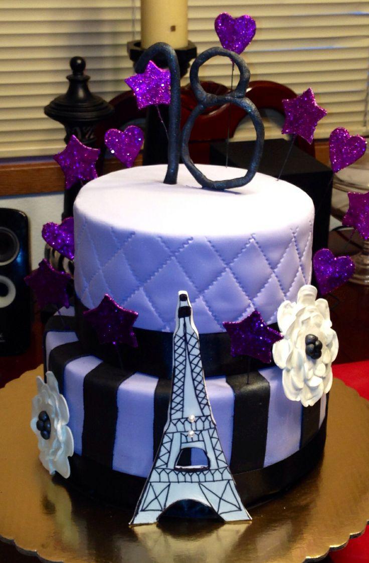 Purple Paris Themed Cake Chocolate Espresso Cake Paris