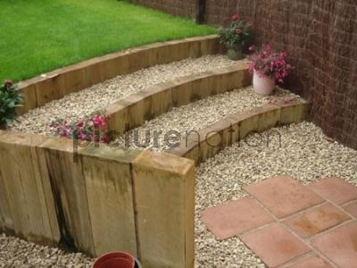 Curved garden steps from patio to lawn Yard and Garden