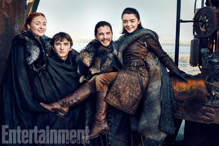 Sophie Turner, Isaac Hempstead Wright, Kit Harington, and Maisie Williams: The Starks are together again.