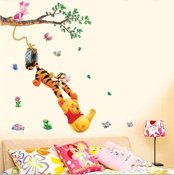 Pooh strom kreslený zviera Vinyl samolepky na stenu pre deti izbách 3D Dekorácie DIY deti Wallpaper Art obrazy na stenu dizajn dom dekorácie