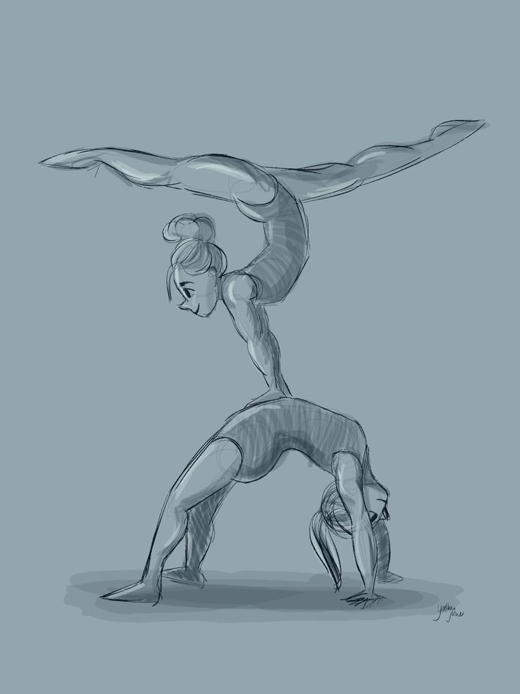 Digital drawing of gymnastic girl's. By Yenthe Joline.