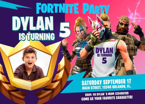 Fortnite Season 5 Party Invitation Whith Photo Birthday Party Fortnite Battle Royale Fast Deli Star Wars Birthday Party Invitations Party Party Invitations