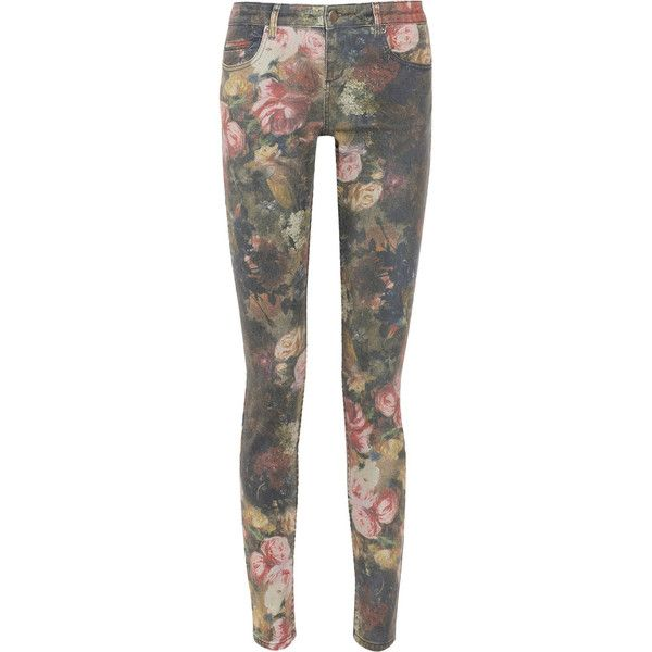 Haute Hippie Floral-print low-rise skinny jeans ($245) ❤ liked on Polyvore