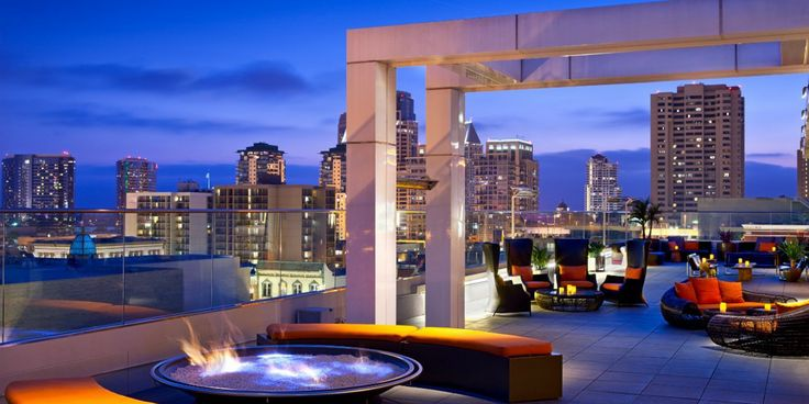 By evening, curl up with a cocktail by one of the rooftop's fire pits at Andaz San Diego.