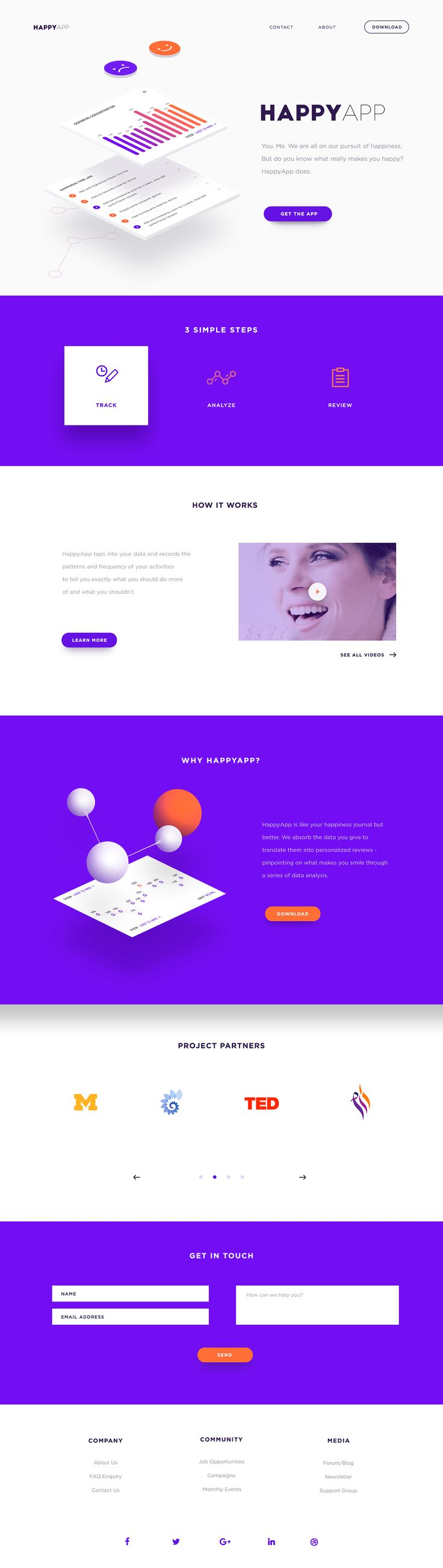 Happy App Landing page on Behance