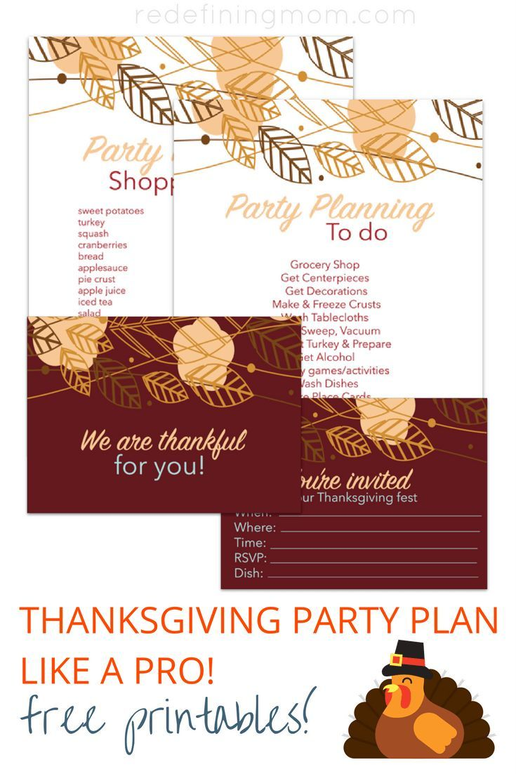 """Download 4 FREE printables for Thanksgiving party planning. Including cute handwritten thanksgiving dinner invitations, a """"thankful for you"""" table setting card, and a done for you thanksgiving shopping list! via /redefinemom/"""