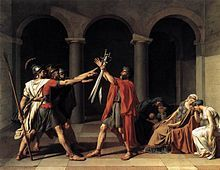 Neoclassical (1750–1850)  Art that recaptures Greco-Roman grace and grandeur shown: Jacques-Louis David, Oath of the Horatii, 1784