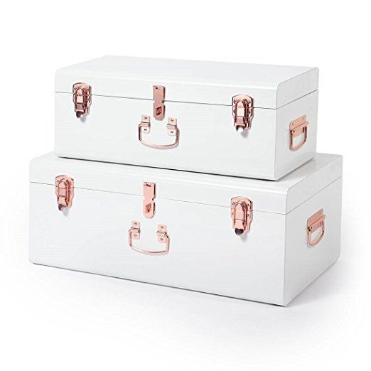 Beautify Cream Vintage-Style Steel Storage Trunk Set with Rose Gold Handles - College Dorm & Bedroom Footlocker