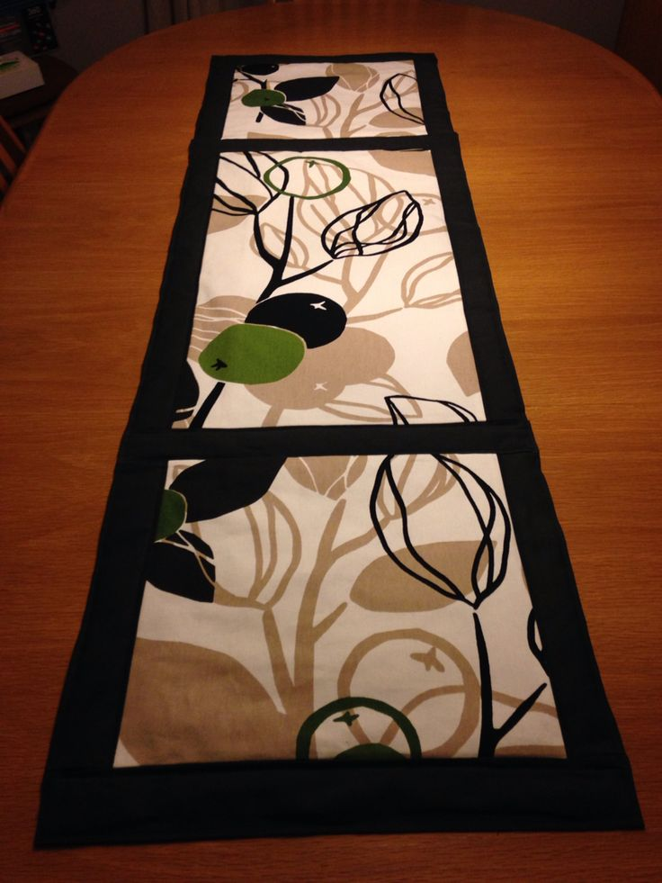 Large table runner using IKEA fabric.