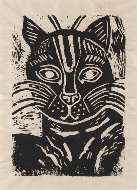 ✦   edward bawden  -   'cat'  -   linocut