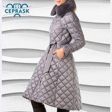 Ceprask 2016 Высокое Качество женские зимние пальто Плюс Размер Длинные женские куртки Тонкий Ремень моды Теплая Куртка casaco camperas(China (Mainland))