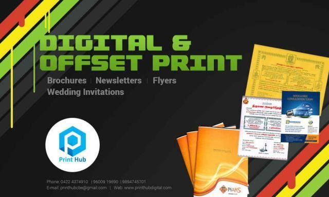 We #PrintHub provide both Digital & Offset printing services in #Coimbatore.  We demand the best in quality, delivery and customer service in every #project. We provide in house design, pre-press services, printing, digital printing large format and post press services. Satisfy your printing needs at your affordable price! Contact: #PrintHub Sathiya Ramanan  9600919690   http://printhubdigital.com/ http://sng.me/8o4