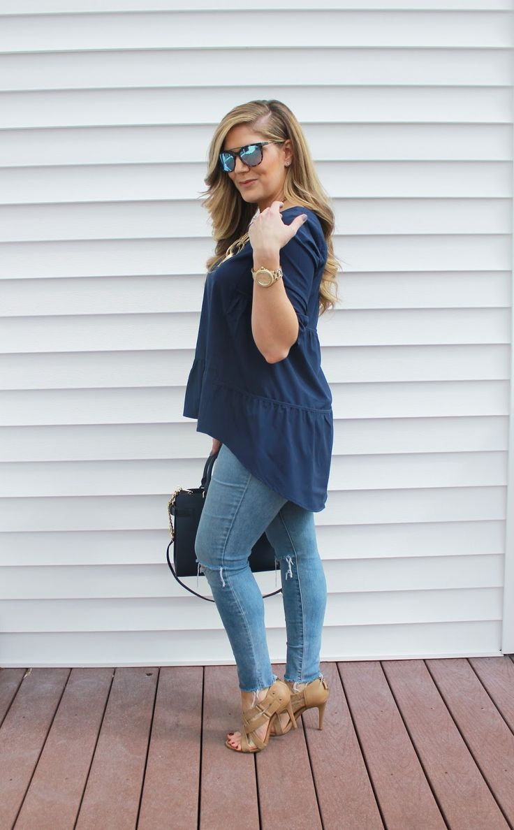 High Low top, distressed denim, spring fashion, spring outfit