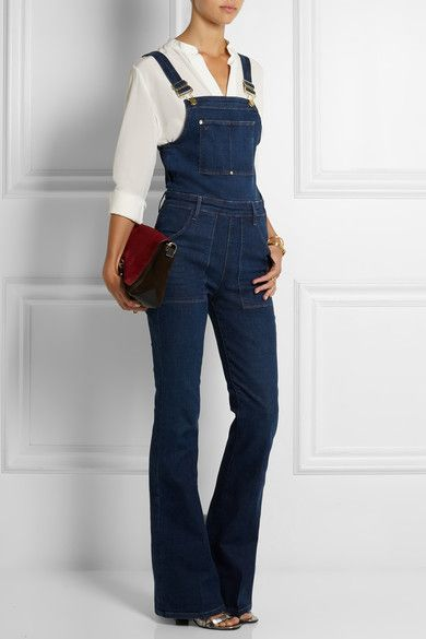 Dark-blue stretch-denim Adjustable button and hook-fastening shoulder straps, button fastenings along sides 93% cotton, 5% polyester, 2% Lycra Machine wash inside out to avoid color transfer Designer wash: Eton Avenue